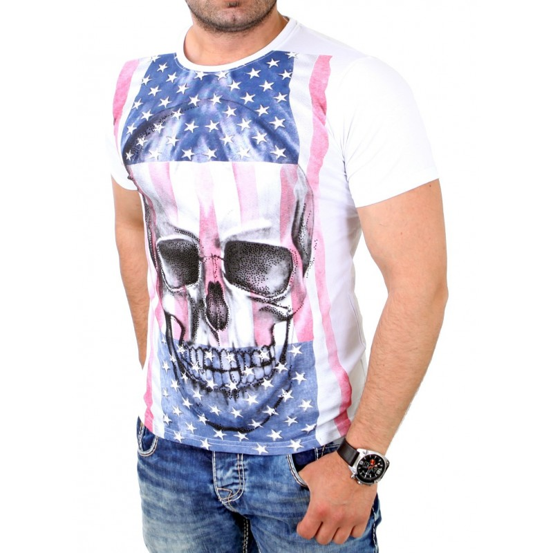 Camiseta Estampada Caveira e Bandeira Masculino Preto e Branco Casual 3fbbf82f24a73