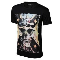 Camiseta Estampada Caveira Preta Masculina Casual Personalizada