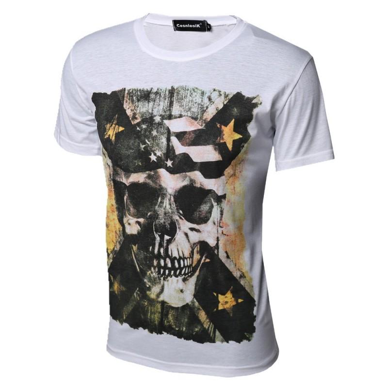 Camiseta Estampada Caveira Preta Masculina Casual Personalizada 23c13ab6c42