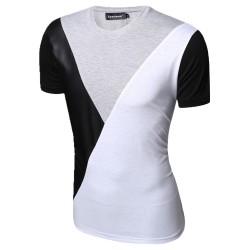 Camiseta Festa Club Noite Masculina Retalho em Couro Casual Elegante
