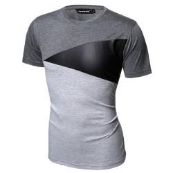 Camiseta Retalho Geometrica Masculina Casual Festa Club Fashion em Couro