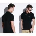 Camiseta Polo Esporte Lisa Masculina Casual com Botão Slim Fit