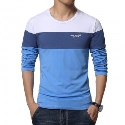 T Long Sleeve Striped Blue Men Cold Modern Calitta