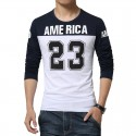 America Shirt 23 Men's Long Sleeve Casual Sport College