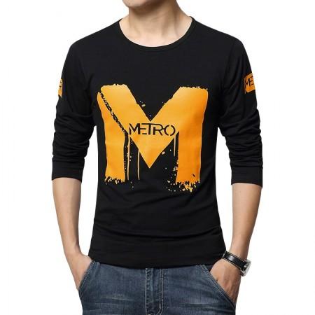 Camiseta Estampada Masculina Slim Fit Manga Longa M Metro