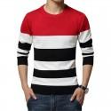 Camiseta Sueter de Frio Tricotado Listrado Masculino Pulôveres
