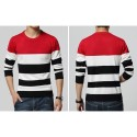 Shirt Sweatshirt Cold Knit Striped Male pullovers