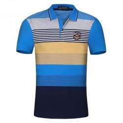 Camiseta Polo Listrada Azul Casual Festa Club estaõa Verão Masculina