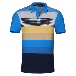 Polo Blue Striped Casual Party Club estaõa Summer Men