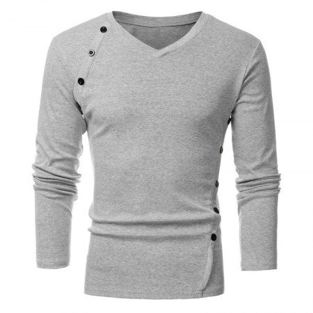 Camiseta Gola V Manga Longa de Inverno Masculina Com Botões de Destaque