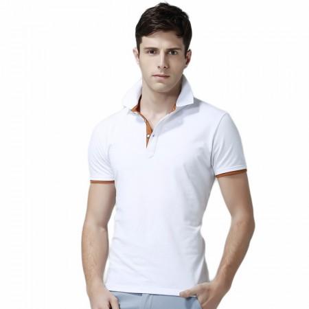 Camiseta Polo Básica Lisa Masculina Casual Slim Fit Elegante Branca