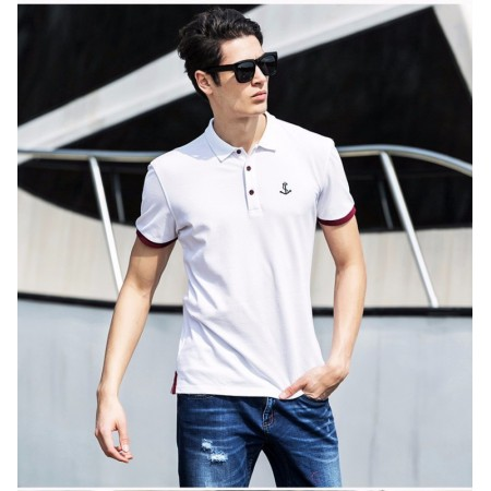 Polo Shirt White Social Sport Thin Elegant Casual Male fc7eb981faaa