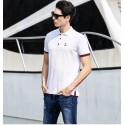 Polo Shirt White Social Sport Thin Elegant Casual Male