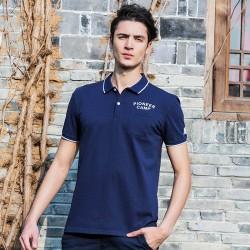 Camisa Pólo Azul Marinho Esporte Masculina Casual Slim Fit
