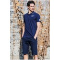Polo Shirt Navy Blue Sport Men's Casual Slim Fit