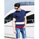 Camisa Pólo Azul Marinho Listrada Esporte Masculina Casual Slim Fit