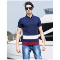 Polo Shirt Navy Striped Sport Men's Casual Slim Fit