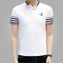 Camiseta Polo Listrada Branca Básica Masculina Esporte Fino Slim Fit