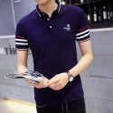 Striped Polo White Basic Men's Sport Thin Slim Fit