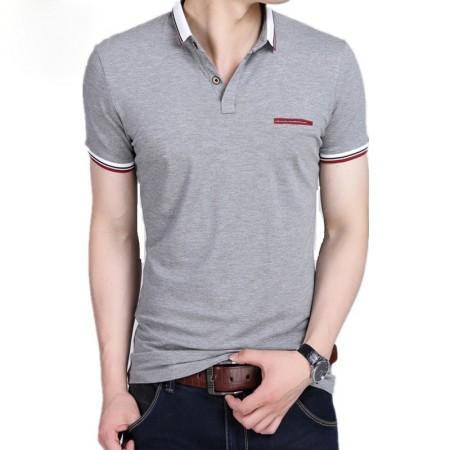 Camiseta Polo Cinza e Azul Esporte Masculina Plus Size Casual de Verão