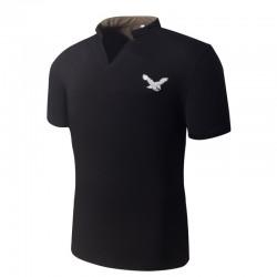 Camiseta Pólo Mandarim Casual Básica Masculina Slim Fit Estampa Aguia