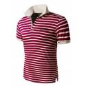 Camiseta Pólo Listrada Férias Masculina de Verão Casual Espore Fino