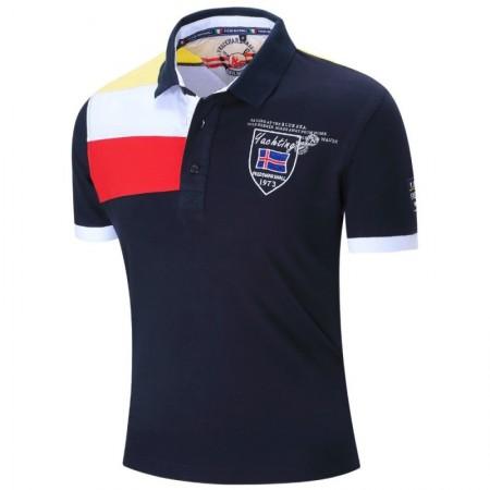 Camisa Pólo Esporte Masculina Social de Verão Elegante Casual Brasão d8785714a5446