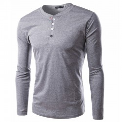 T shirt Casual Winter Men's Long Sleeve Button