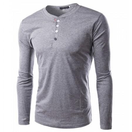 Camiseta Casual Inverno Masculina de Botão Manga Longa