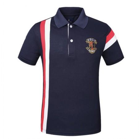 Men's Golf Polo Shirt Navy Elegant Thin Sport Striped
