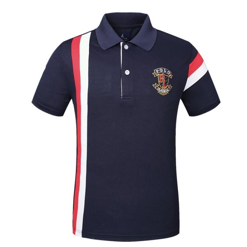 Camisa Pólo Golf Masculina Azul Marinho Elegante Esporte Fino de Listrada 191fb450e845d