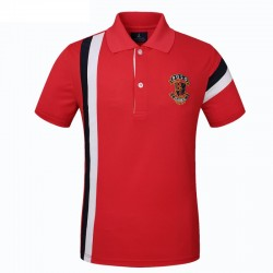 Golf Polo Shirt Red Men's Elegant Thin Striped Sport