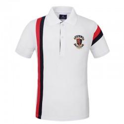 Camisa Pólo Golf Branca Masculina Elegante Esporte Fino Listrada