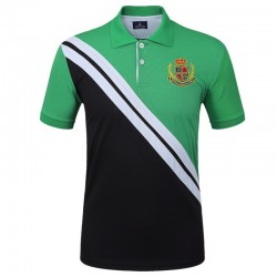 Men's Golf Polo Shirt Navy Elegant Thin Sport Striped