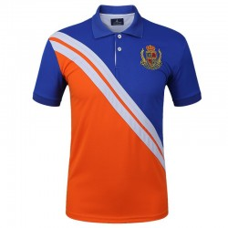 Golf Polo Shirt Orange and Blue Sport Men's Elegant Thin Striped