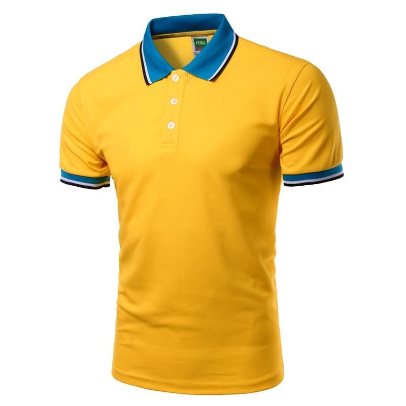 997eb73e68 Camiseta Pólo Amarela Básica Lisa Masculina de Verão Esporte Fino
