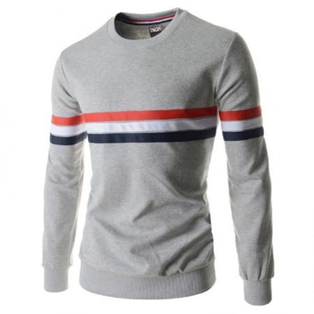 Camiseta Slim Esporte Masculina Inverno com Listras Manga Longa