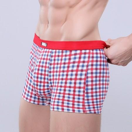 Cueca Vermelha Xadrez Estampada Masculina Confortável Diversas Cores Sex