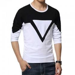 Camiseta Casual Geometrica Masculina Manga Longa