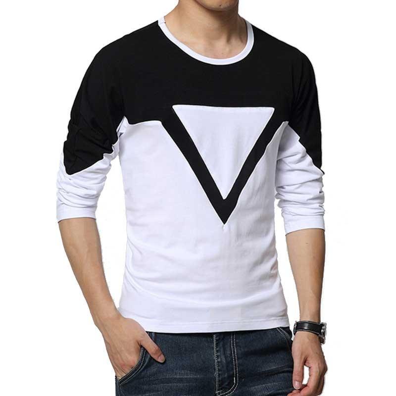 9b68733423 Camiseta Casual Geometrica Masculina Manga Longa. Loading zoom
