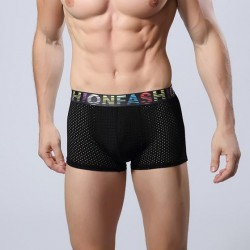 Underwear Black Men's Boxer Breathable Fashion Sex Stretchable Fiber