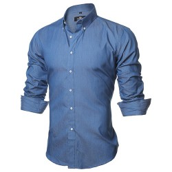 Shirt Jeans Slim Blue Casual Men's Long Sleeve Blue Elegant Social