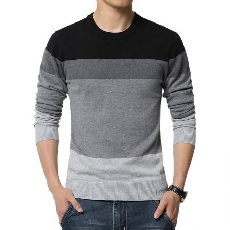d1a60774d Camiseta Blusão Listrada de Inverno Masculina Manga Longa em Lã