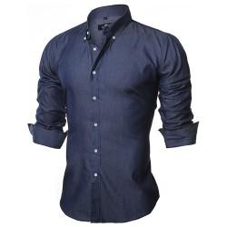 Camisa Jeans Fino Azul Marinho Casual Masculina Manga Longa Azul Elegante Social