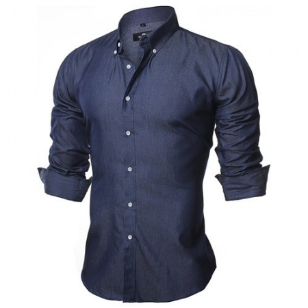 Shirt Jeans Slim Navy Blue Casual Men's Long Sleeve Blue Elegant Social