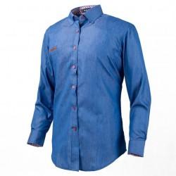 Camisa Jeans Fino Azul Casual Masculina Manga Longa Azul Elegante Formal