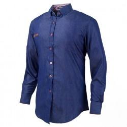Camisa Jeans Fino Azul Marinho Casual Masculina Manga Longa Azul Elegante Formal