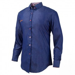 Shirt Jeans Slim Navy Blue Casual Men's Long Sleeve Blue Elegant Formal