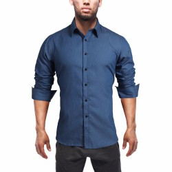 Camisa Jeans Slim Fit Fino Azul Casual Masculina Manga Longa Azul Elegante Social