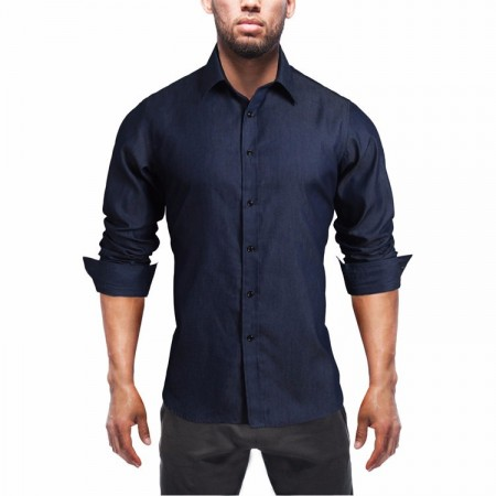 Shirt Jeans Slim Fit Navy Blue Casual Men's Long Sleeve Blue Elegant Formal